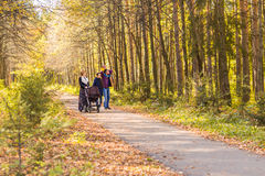 Young Family Outdoors Walking Through Autumn Park Stock Images