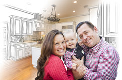 Young Family Over Custom Kitchen Design Drawing and Photo Combin. Happy Young Family Over Custom Kitchen Design Drawing and Photo Combination Stock Images