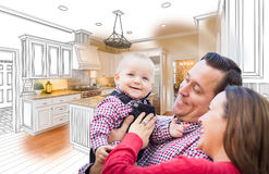 Young Family Over Custom Kitchen Drawing and Photo Combination. Happy Young Family Over Custom Kitchen Design Drawing and Photo Combination Royalty Free Stock Image