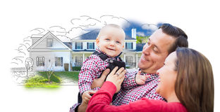 Young Family Over House Drawing and Photo on White. Happy Young Family With Baby Over House Drawing Isolated on a White Background Stock Photography