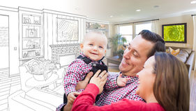 Young Family Over Living Room Design Drawing Photo Combination. Happy Young Family Over Custom Living Room Design Drawing Photo Combination Stock Photos
