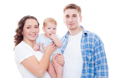 Young family over white background Royalty Free Stock Photo