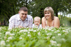 Young family in park. The young family in park, lays on a grass and smiles Stock Images