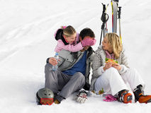Young Family With Picnic On Ski Vacation Stock Photography