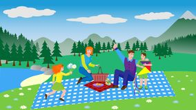 Young family on a picnic - vector illustration in flat style vector illustration