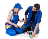 Young family plans repair of a children's room. Stock Photography