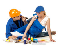 Young family plans repair of a children's room. Stock Photo