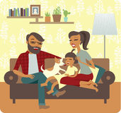 Young family playing with baby girl. In New Home Stock Images