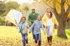 Young family playing with a kite royalty free stock photos