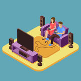 Young family playing video game at home. Vector 3D isometric Stock Image
