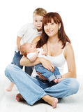 Young family portrait, smiling mother kid and newb Stock Photos