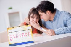 Young family in pregnancy planning concept with ovulation calend. Ar stock photography