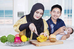 Young family preparing superfood Stock Photography