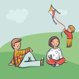 Young family relax outdoor, kid launch a kite. Cartoon style vector illustration, simply editable set Vector Illustration