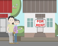 Young family with for rent house. Family search for new house. House with for rent sign. Happy new family. Parents and child. Pregnant mother Stock Photos