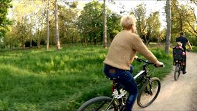 Young Family Riding Bicycles In Green Park stock video