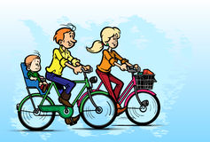 Young family riding bicycles.Vector Royalty Free Stock Photography
