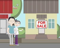 Young family with for sale house. Family search for new house. House with for sale sign. Happy new family Stock Photos