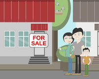Young family with for sale house. Family search for new house. House with for sale sign. Happy new family. Parents and child. Pregnant mother Royalty Free Stock Photo