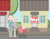 Young family with for sale house. Family search for new house. House with for sale sign. Happy new family. Parents and newborn child Royalty Free Stock Images