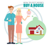 Young family saves money to buy a house. Flat design vector Illustration beautiful couple collect money to buy a house Stock Photos