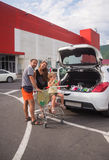 Young family shopping at the Market Royalty Free Stock Image