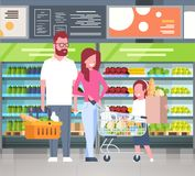 Young Family Shopping At Supermarket And Buying Products Over Shelves At Grocery Consumerism Concept. Flat Vector Illustration Stock Photos