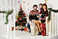 Young family sitting under the Christmas tree. Young family - mother, father and little boy sitting under the Christmas tree with a dog Husky Royalty Free Stock Photography