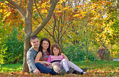 Young family spending time outdoor. Happy young family spending time outdoor stock photos