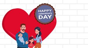 Young Family Standing Over Red Heart Parents With Kids On Happy Valentines Day Poster. Flat Vector Illustration Stock Photo