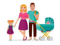 Young family standing together isolated on white background. Cheerful parents and children and stroller cartoon vector illustration