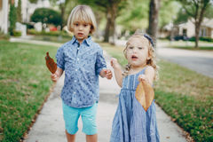 Young family on the street Royalty Free Stock Photography