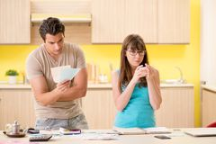 The young family struggling with personal finance royalty free stock photos