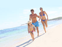 Young family on summer holidays having fun Stock Image