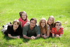 Young Family with suns and daughters Royalty Free Stock Photos