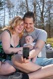 Young family is taking a selfie Stock Photo