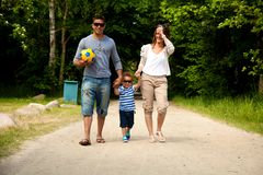 Young Family on Their Way to a Summer Destination Stock Photos