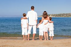 Young family with three kids on vacation Stock Images
