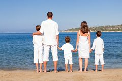Young family with three kids on vacation Stock Photo