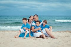 Young family with three kids on vacation Royalty Free Stock Photography