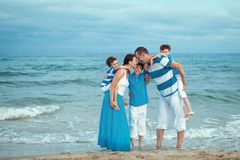 Young family with three kids on vacation Royalty Free Stock Image