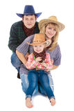 Young family of three persons in the stylish Stock Photography