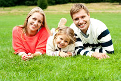 Young family of three spending a happy day Royalty Free Stock Image