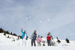Young Family Throwing Snowballs Stock Images