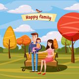 Young family with toddler walking in the park outdoors, bench, landscape retro cartoon vector illustration royalty free illustration