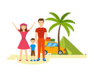 Young family is traveling in his car. Royalty Free Stock Images