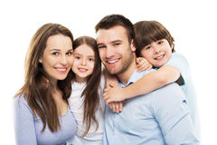 Young family with two kids. Young family with two children on white background royalty free stock image