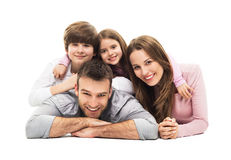 Young family with two kids. Young family with two children on white background stock image