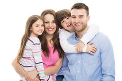 Young family with two kids. Young family with two children on white background royalty free stock images