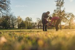Young family with two kids having fun in a park. On sunny autumn day as the parents lift and play with their kids royalty free stock photos